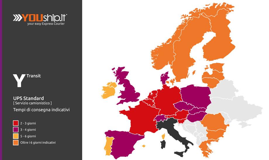 Mappa dei tempi di transito per consegne espresse vias terra in Europa